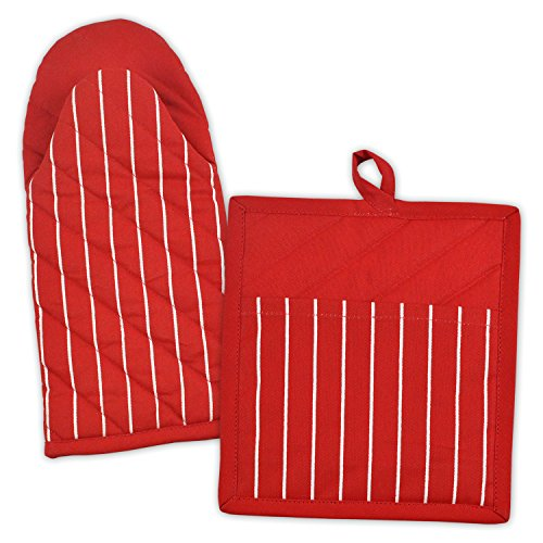 DII 100% Cotton, Machine Washable, Everyday Kitchen Basic, Stripe Commercial Grade, Restaurant Quality Chef Oven Mitt and Potholder Gift Set, Red (Glove Holders For Restaurants compare prices)