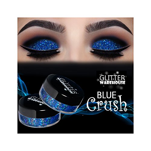 GlitterWarehouse Blue Crush Holographic Loose Glitter Powder for Eyeshadow, Makeup, Nail Art, Body Tattoo by GlitterWarehouse