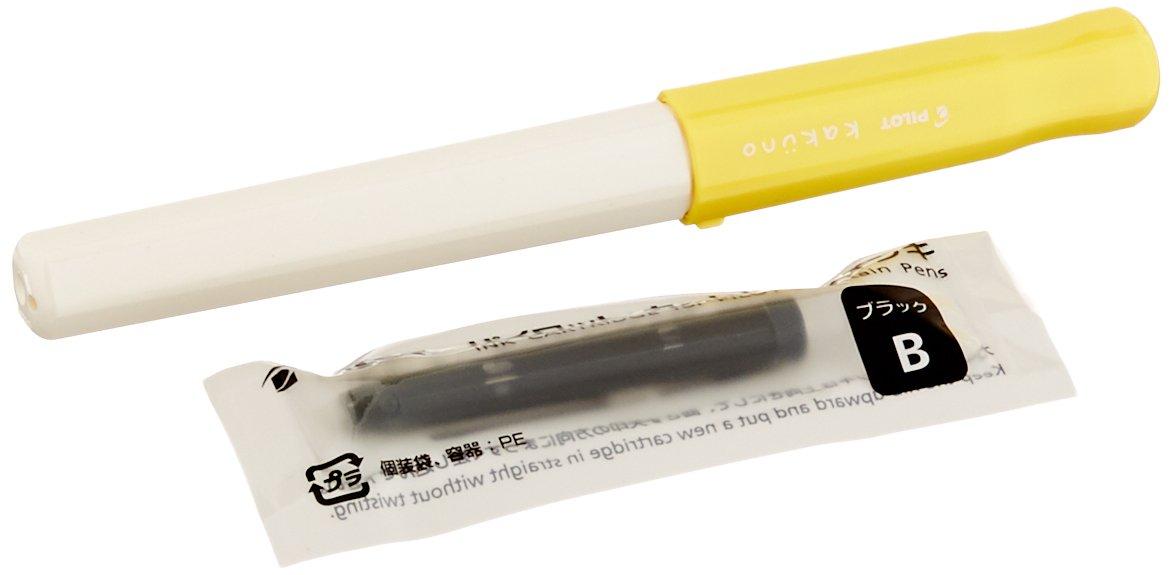 Pilot Kakuno Medium-Nib Fountain Pen White Body Soft Yellow Cap Body FKA-1SR-SYM