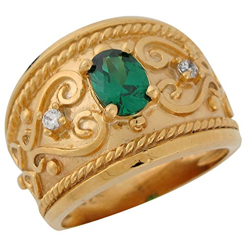 14k Yellow Gold Simulated Emerald and White CZ Etruscan Wide Band Ladies Ring (Ring Yellow Etruscan)