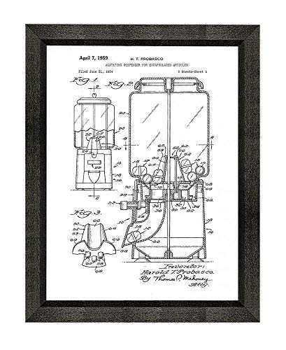 Gumball or Toy Vending Machine Patent Art White Matte Print in a Beveled Black Wood Frame (5