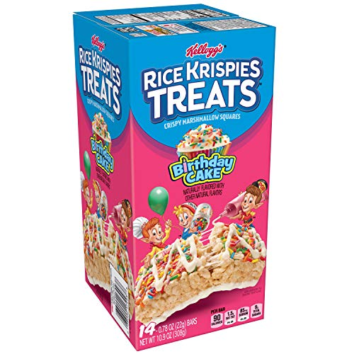 Kellogg's Rice Krispies Treats, Crispy Marshmallow Squares, Birthday Cake, 0.78 oz 14 ct,(Pack of 6) (Best Ever Rice Krispie Treats)