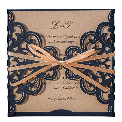 WISHMADE Navy Blue Rustic Square Laser Cut Wedding Invitations Cards with Bow Lace Sleeve Cards for Engagement Baby Shower Birthday Quinceanera (1 Piece Sample)