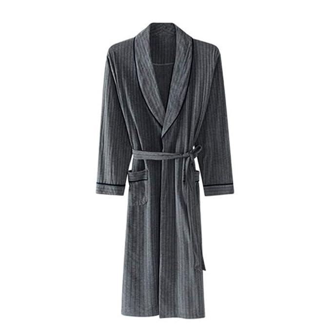 Albornoz De Algodón 100% Para Hombre, Batas de Dormir Larga Y Cómoda Para Pijama