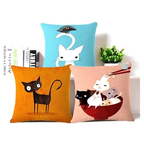 SHIPPING STORY-Lovely cat Linen Cotton Throw Pillow Case Cushion Cover Home Sofa Decor 18