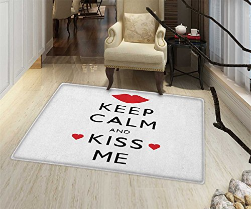 Keep Calm Door Mats Area Rug Kiss Me Poster Design with Red