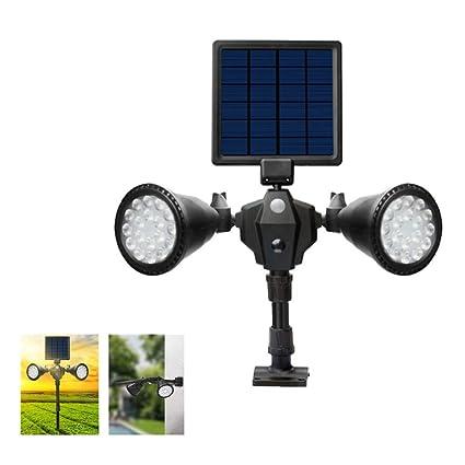 HXMSXROMID Luces Solares Sensor De Movimiento Luz Seguridad 36 LED Rotación Doble Cabeza Lámpara Césped Jardín