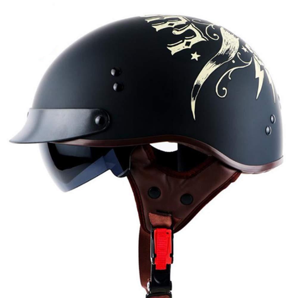 Half Motorcycle Helmet Cruiser Wang/&WD R/étro Casque Moto Harley r/étro Visage Ouvert 3//4 Dot approuv/é pour Les Hommes et Les Femmes sappliquent