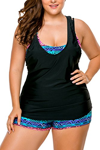 Lalagen Women's Plus Size 3 Pieces Tankini Swimsuit with Shorts size L (Black - In Womens Usa Made Swimsuits