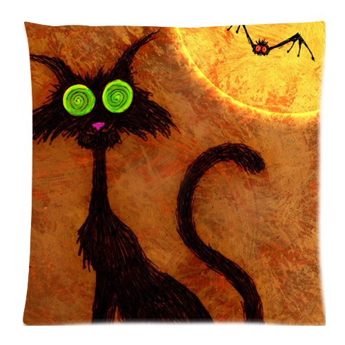 [Happy Halloween Decor Black Cat Print 18x18 Inch Throw Pillow Cover] (Diy College Girl Halloween Costumes)