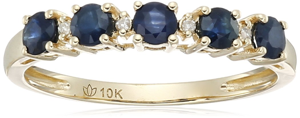 10k Yellow Gold Blue Sapphire and Diamond Accented Stackable Ring, Size 7