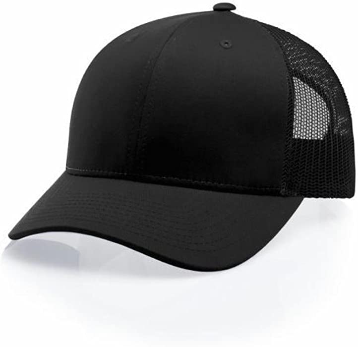 Amazon.com  Richardson Black 112 Mesh Back Trucker Cap Snapback Hat ... 380e84631a1