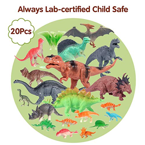 Refasy Dinosaur Toys for Kids 3-5,Realistic Looking Dinosaurs Toy Set Plastic Assorted Dinosaur Figures Educational Toy for Boy Girl Great Gift Set Party Supplies Including T-rex Triceratops 20 Pack