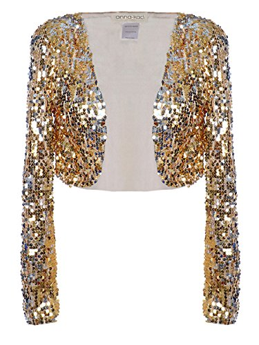 Anna-Kaci Womens Glitter Sequins Shiny Long Sleeve Cropped Bolero Blazers Shrugs (Gold Glitter Shirt)