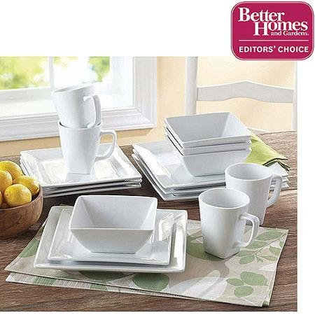 Better Homes and Gardens Soft Square Porcelain 16 Piece Dinnerware Set (White Square Dinnerware Sets)