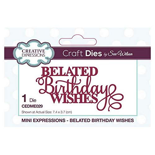 Sue Wilson Designs - Mini Sentiments Collection - Belated Birthday Wishes (CEDME029)