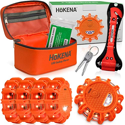 HOKENA LED Road Flares Roadside Emergency Kit - 5 Pack Roadside Safety Discs w/Emergency Blanket, Window Breaker Seatbelt Cutter Tool, Premium Road Flare Storage Bag & More (Car Battery Tools Replacement)