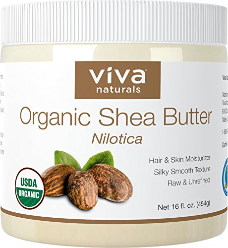 Viva Naturals Shea Butter (16 oz) - Unrefined Certified Organic Shea Butter, Perfect for All Skin Types and DIY Recipes (Shea Butter Foot)