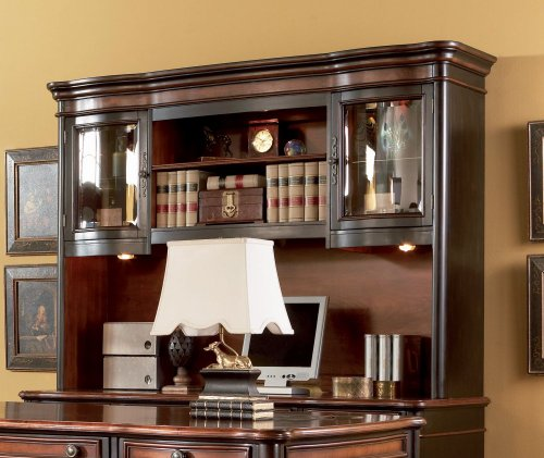 Coaster Home Furnishings Gorman Hutch with 2 Curved Glass Doors Espresso and Chestnut
