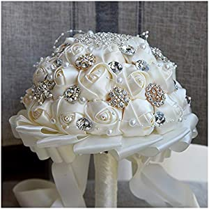 Luvier Romantic Silk Rose Crystal Wedding Bridal Bouquets White Artificial Rose Flower Bridesmaid Bouquet 106