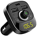 Bluetooth FM Transmitter, Avanz Wireless Bluetooth FM Radio Adapter Car Kit with Hands-Free Calling, (Ring Light) Dual USB Port & Type-C Charging Port Compatible with iPhone, iPad, Samsung Galaxy