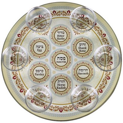 Glass Passover Seder Plate with Cups Floral Design (Gold)