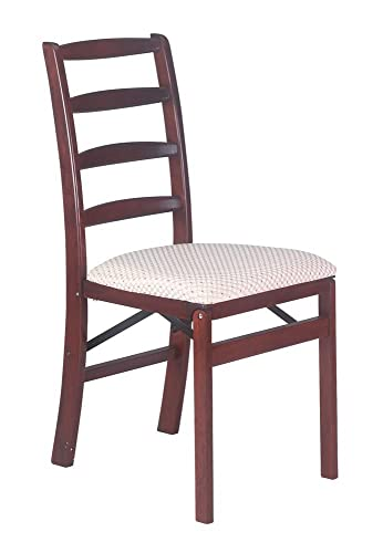 Shaker Ladderback Wood Folding Chair in Cherry Finish – Set of 2