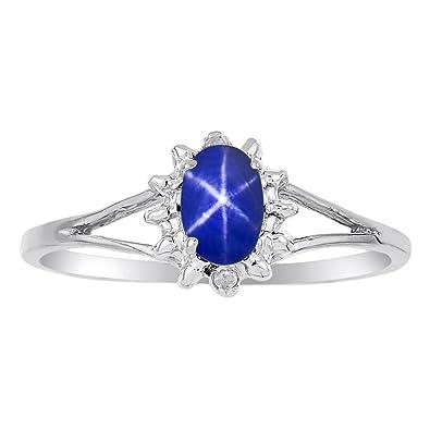 1fc00e916e66b8 Amazon.com: Diamond & Blue Star Sapphire Ring set in Sterling Silver:  Jewelry