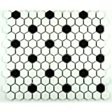 Hexagon White with Black Dots Porcelain Mosaic Tile Matte Look 1x1 Inch