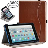 Ztotop Folio Case for Amazon Fire HD 8 Tablet (8th/7th Generation,2018 and 2017 Release) - Smart 360 Degree Rotating Leather Cover Slim Folio Multi-Angle Viewing Stand Case with Auto Wake/Sleep, Brown
