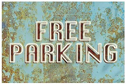 Free Parking 12x8 CGSignLab Ghost Aged Blue Wind-Resistant Outdoor Mesh Vinyl Banner
