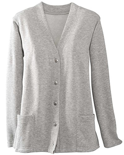 Fleece Button (National Lightweight Fleece Cardigan, Heather Gray, Medium)