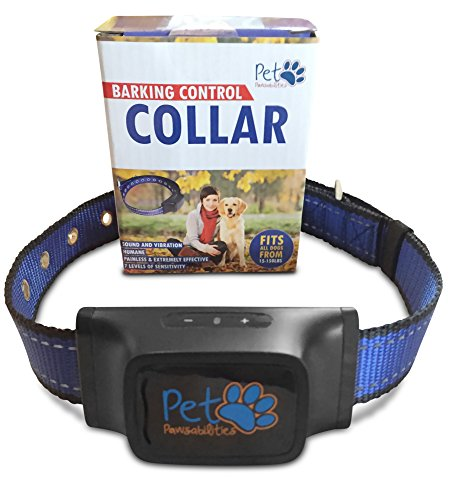 NO SHOCK Humane Bark Control Collar, 7 Different Bark Sensitivity Levels, Extremely Effective & No Pain or Harm, Bark Collar Vibration, Premium Nylon Collar and No Rust Buckle, For 20-150 lb Dogs