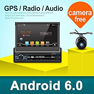 "2G 32G Single Din Android 6.0 Quad-Core 7"" Touchscreen, Bluetooth, DVD/CD/MP3/USB/SD AM/FM Car Stereo, 7 Inch Digital LCD Monitor, Detachable Front Panel, Wireless Remote,Multi-Color Illumination"
