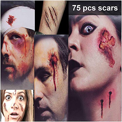 Halloween Makeup Ideas For Guys With Beards (Zombie Makeup Tattoos, Halloween Zombie Makeup Kit, Scar Tattoos, 3(Large)+6(Small) Pack Vampire Bite Tattoo, Fake Scars, Halloween Makeup Kit, Waterproof Fake Blood, Safe Zombie Makeup Kit for)