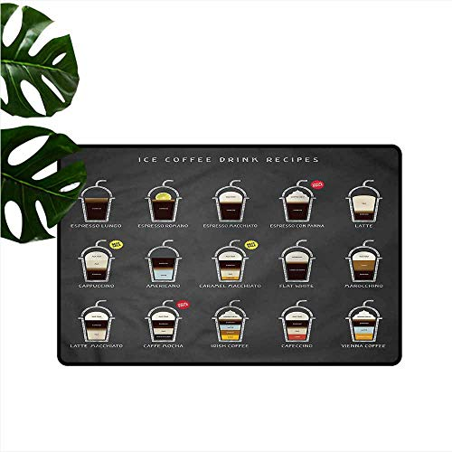Pet Door mat Coffee ICY Drink Recipe Ingredients Non-Slip Door mat pad Machine can be Washed W30 xL39]()