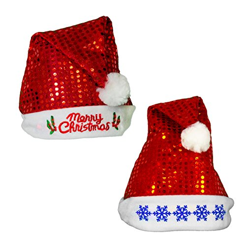 Christmas Holiday Sequin Flashing Light Up Santa Party Hat, Styles May Vary, Red, 1 Pack, Size Small, 15