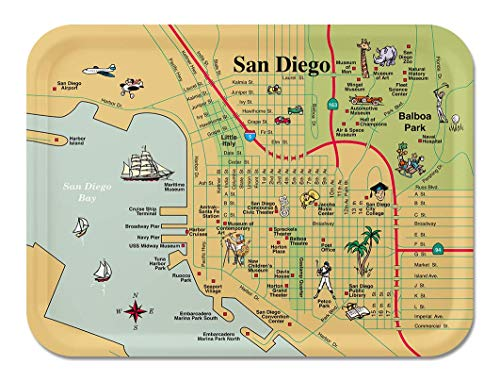 Trays4Us San Diego Illustrated 11x8 inches (Medium) Breakfast Map Tray - 70+ Different Designs -