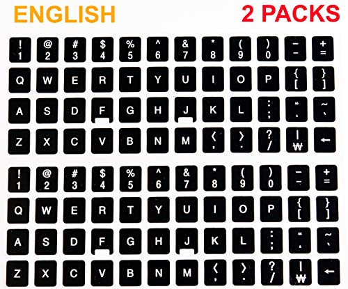 [2 Packs] Replacement English Keyboard Stickers on Non Transparent Black Background for Any PC and Laptop (ENG) (Number Keys Don T Work On Laptop)