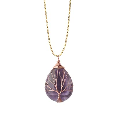 Zhepin Vintage Tree Of Life Wire Wrapped Copper Teardrop Natural Gemstones Pendant Necklace With Gift Box