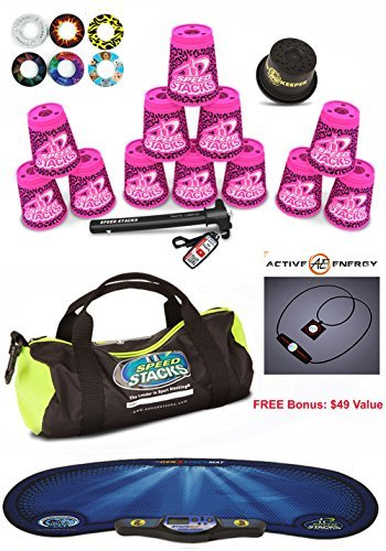 Speed Stacks Custom Combo Set - The Works: 12 ZIPPY PINK LEOPARD 4'' Cups, Cup Keeper, Quick Release Stem, Pro Timer, Gen 3 Mat, Snap Tops, Gear Bag + FREE Bonus: Active Energy Power Balance Necklace $49 Free