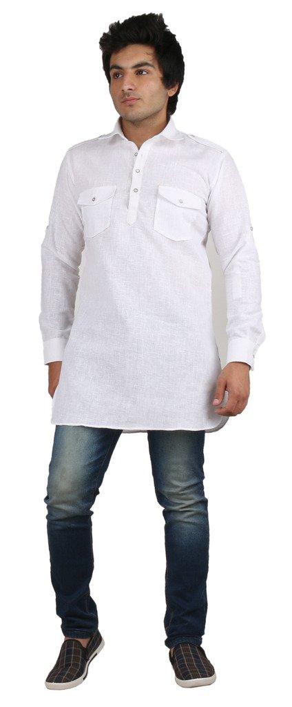 Royal Men's White Fine Cotton Short Pathani Kurta For Denim's by Kurta
