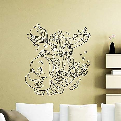 Ariel sirena tatuajes de pared vivero de dibujos animados etiqueta ...