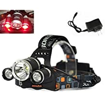 WindFire 3X CREE LED 4 Modes Super Bright 5000Lm Green RED Blue Light Headlamp Tactical Headlight Green RED Hunting Light Blue Night Fishing Lights Bicycle Light Lamp Flashlight Torch for Camping,Climbing,Cycling (Battery not included)