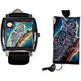 Owl Gift Set, Watch and Key Holder -From My Original Painting, The Wise One