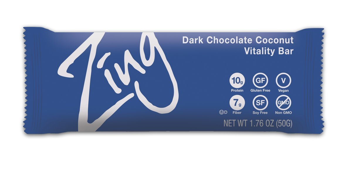Zing Nutrition Bar, Dark Chocolate Coconut (Pack of 12), Non-GMO Snack Bar for Optimum Energy, Gluten & Soy Free, Vegan, Plant-Based Protein