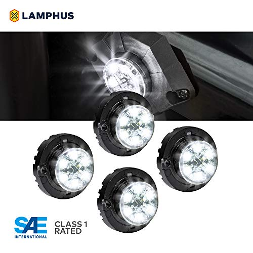LAMPHUS 4pc SnakeEye III LED Hideaway Strobe Light [SAE Class 1] [IP67 Waterproof] [72 Flash Modes] [TBT Function] Emergecy Warning Lights for Police Fire Construction Vehicle - White