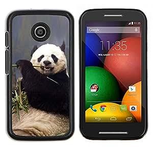 EJOOY---Cubierta de la caja de protección para la piel dura ** Motorola Moto E ** --Panda hambrienta divertida