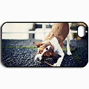 Customized Cellphone Case Back Cover For iPhone 4 4S, Protective Hardshell Case Personalized Dog Stick Game Black