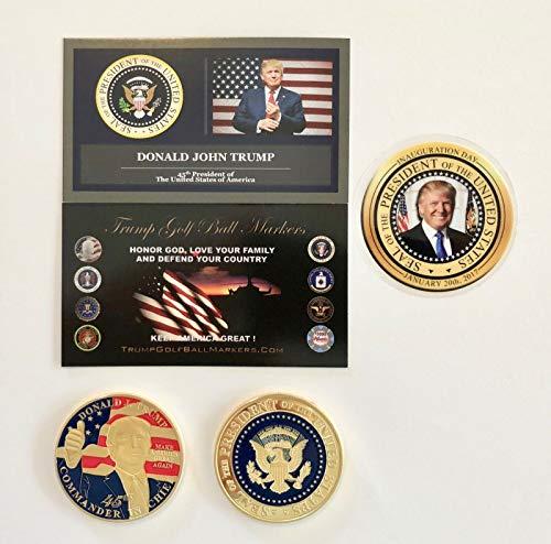 (Virginia City Mint Trump Golf Ball Marker. 45th Commander & Chief.MAGA. 24K Gold Plated Coin)